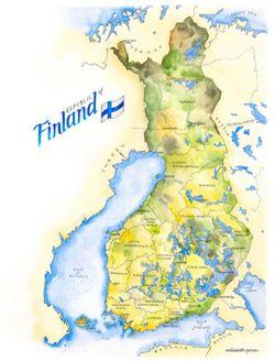 Finland Watercolor Map Print l Elizabeth Person
