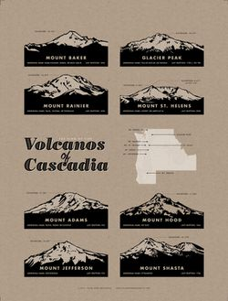 Volcanoes of the Cascades Poster by Cellar Door Mercantile