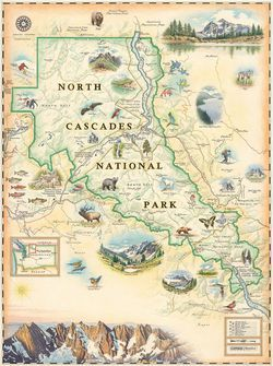 North Cascades Wall Map by Xplorer Maps