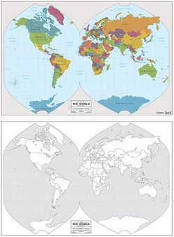 World Outline Map & Color Map by Geography Matters