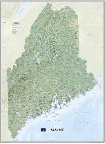 Maine Wall Map by National Geographic