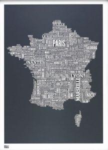 France Type Map - Slate