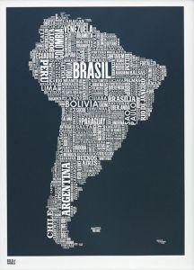 South America Type Map - Slate