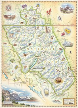 Glacier National Park Wall Map