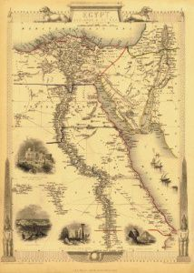 Antique Map of Egypt 1851