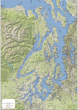 Puget Sound & Hood Canal Terrain Map by Kroll Map