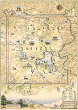 Yellowstone National Park Wall Map