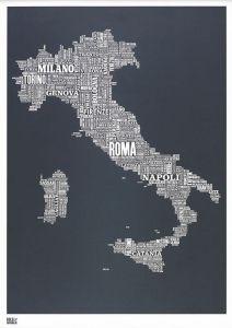 Italy Type Map - Slate
