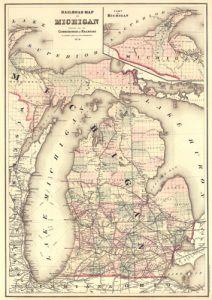 Antique Map of Michigan 1876