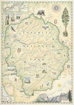 Yosemite National Park Wall Map - Yosemite National Park Poster
