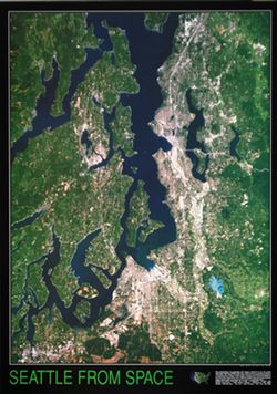 Satellite Image Map of Seattle From Space