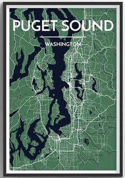 Puget Sound Map Print by Point Two