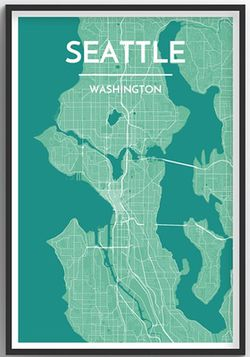 Seattle Map Print ( Light Green) by Point Two