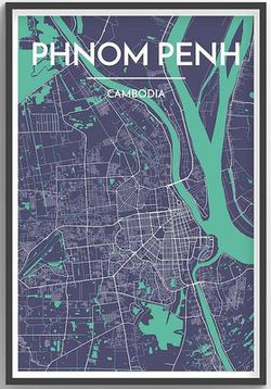 Phnom Penh Map Print by Point Two