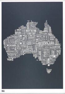 Australia Type Map - Slate