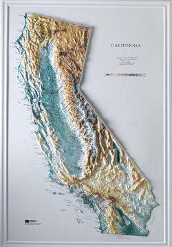 California Raised Relief Map (Raven colors)