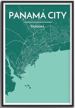 Panama City Map Print by Point Two