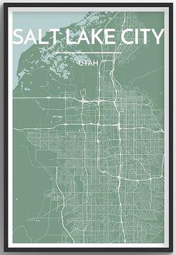 Salt Lake City Map Print by Point Two
