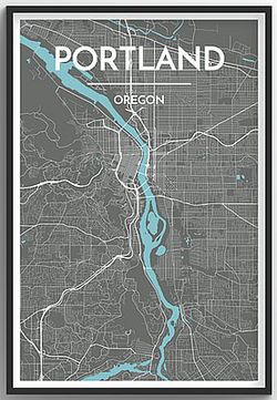 Portland, OR (Grey) Map Print by Point Two