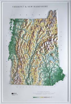 Vermont / New Hampshire Raised Relief Map (Raven colors)