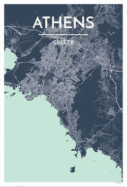 Athens Map Print by Point Two