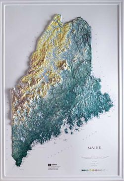 Maine Raised Relief Map (Raven colors)