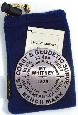 Mt. Whitney Benchmark Medallion