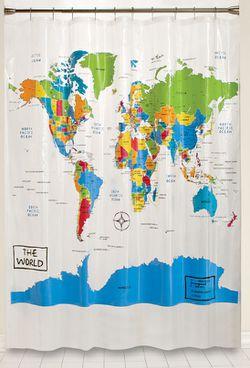 World Map Shower Curtain Map Shower Curtain