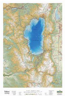 Lake Tahoe Raised Relief Map