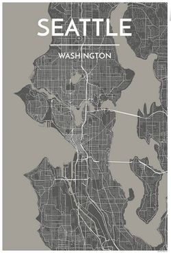 Seattle Map Print (Grey) by Point Two
