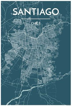 Santiago Map Print by Point Two