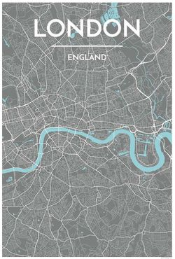 London Grey Map Print by Point Two