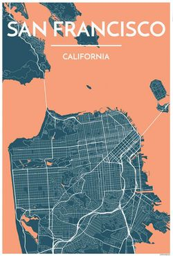 San Francisco Map Print Peach by Point Two