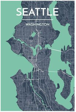 Seattle Map Print (Green) by Point Two