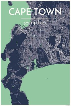 Cape Town Map Print by Point Two