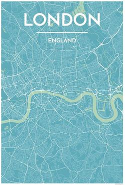 London Light Blue Map Print by Point Two