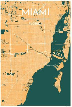 Miami Map Print by Point Two