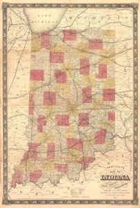 Antique Map of Indiana 1858