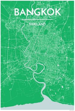 Bangkok Map Print by Point Two