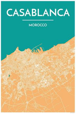 Casablanca Map Print by Point Two
