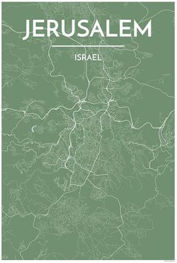 Jerusalem Map Print by Point Two