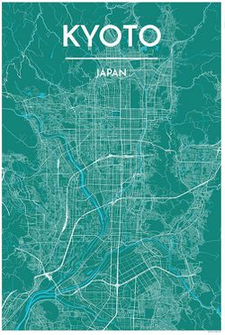 Kyoto Map Print by Point Two