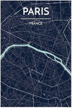 Paris Map Print Dark Blue by Point Two