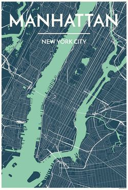 Manhattan Map Print by Point Two