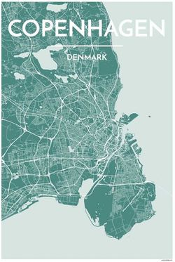 Copenhagen Map Print by Point Two