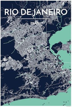 Rio De Janeiro Map Print by Point Two