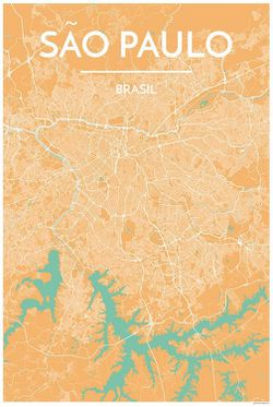 Sao Paulo Map Print by Point Two