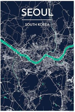 Seoul Map Print by Point Two