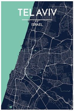 Tel Aviv Map Print by Point Two