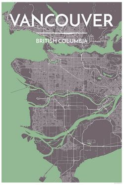 Vancouver Map Print Green by Point Two